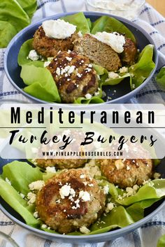 These simple yet delicious Mediterranean Turkey Burgers are the perfect lunch to make ahead for meal prep then enjoy later in the week! They're low carb and Keto friendly as well. The best part is that they freeze very well, so make a big batch and enjoy later on! Turkey Burger Recipes | Turkey Burgers | Turkey Burger Recipes Healthy | Turkey Burger Recipes Easy | Easy Healthy Lunch Ideas | Low Carb Recipes | Low Carb Dinner | Low Carb Dinner Recipes | Meal Prep Recipes | Freezer Meals Make Ahead Meals, Easy Healthy Dinners, Healthy Recipes, Freezer Meals, Delicious Recipes, Turkey Burger Recipes, Turkey Burgers, Low Carb Dinner Recipes, Mediterranean Recipes