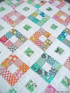 Do it like Terri did with 9 patch in between the colored button boxes. 9 patch by Red Pepper Quilts. Patchwork Quilting, Jellyroll Quilts, Scrappy Quilts, Easy Quilts, Amish Quilts, 9 Patch Quilt, Colchas Quilt, Quilt Blocks, Quilting Tutorials