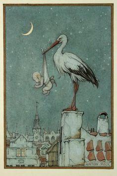 Birth Announcement * Ooievaar brengt baby in de nacht* Anton Pieck