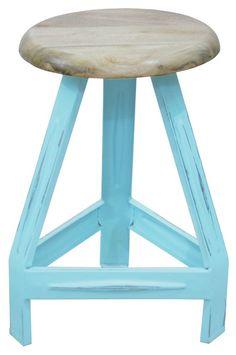 Pure kruk hout-metaal old blue | Woonboulevard Poortvliet XXL