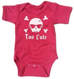 Skull with Cool Shades and Crossbones with Slogan: Too Cute - Punk Girl Bodysuit, Fun Fuschia / Pink Rockabilly Infant Creeper Baby Grow