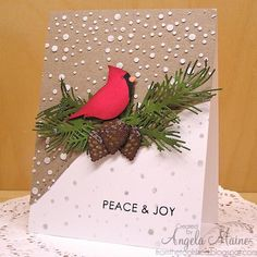 handmade Christmas/winter card: Cardinal in Blizzard ... stenciled snow circle son craft ... cardinal focal point made with bird punch ... die cut pine boughs and cones ... great card!