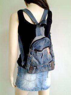 Backpack  upcycled jean bag boho bag blue jean by EverydayMint