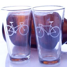 Bicycle Love Etched Pint Glasses  Set of 2 by EastMesaDesign, $30.00