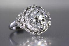 Platinum 3.09 carat European cut diamond