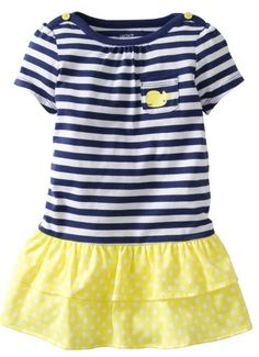 Carters Baby Girls Striped Dress with Panty Baby  BlueYellow  24 Months ** Details can be found by clicking on the image. (This is an affiliate link) #BabyGirlDresses