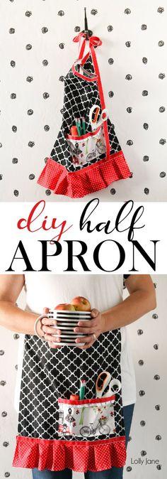 easy half apron tutorial