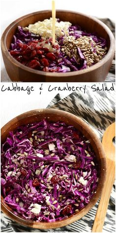 Crunchy, sweet, salty, and tangy, this five ingredient Cabbage and Cranberry salad is complex in flavor, but easy to make. Step by step photos. @budgetbytes