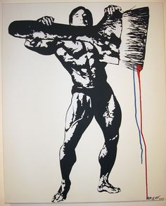 Self portrait as a body builder holding a giant paint brush by Blek le Rat on Widewalls. Browse more artworks by Blek le Rat and auction records with prices and details of each sale! Blek Le Rat, Create Icon, Stencil Graffiti, Street Artists, Banksy, Paint Brushes, Urban Art, Pop Art, Portrait