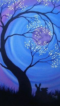 Oil Pastel Paintings, Oil Pastel Art, Simple Acrylic Paintings, Tree Paintings, Oil Pastel Drawings Easy, Abstract Tree Painting, Night Sky Painting, Painting Canvas, Sunset Painting Easy