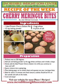 Ideal Protein - Cherry Meringue Bites Absolutely delicious and filling. They tasted like roasted cherry marshmallows so it's definitely worth to try! Counts as your dinner protein. #IdealProtein #Diet #Phase1 #Nutrition #DIY #Recipe #Protein #Snack #Dinner #Yum