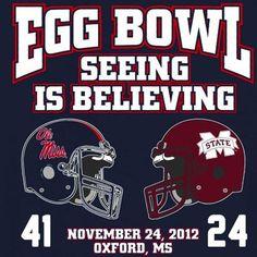 Mississippi Rebels vs. Mississippi State Bulldogs 2012 Egg Bowl Score