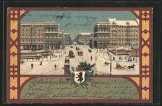 Winter-Lithographie Berlin-Kreuzberg, Hallesches Tor mit Straßen- und Pferdebahnen  gelaufen 1900