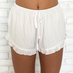 Sparkle In The Sun Ruffle Shorts from Dainty Hooligan. Saved to Clothing . Shop more products from Dainty Hooligan on Wanelo.