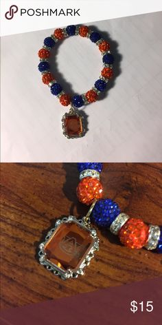 Sparkling Auburn University bracelet Orange and blue Auburn colors and a A U charm Jewelry Bracelets