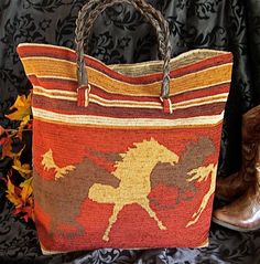 Large Running Stallion Carpet Bag Tote by janiechampagnie on Etsy