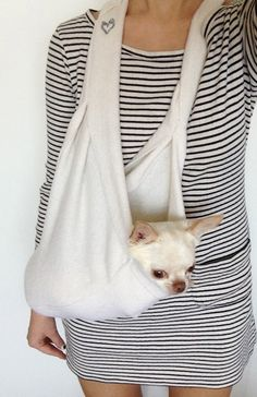 Scarf Sling Small Dog Puppy Pet Carrier with Harness by HeartPup, $118.00