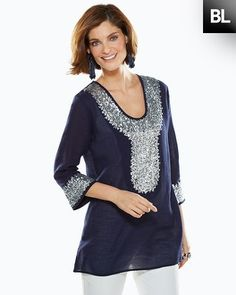 Silver Sequin Tunic - Chico's  great for nightime this spring/summer at the beach