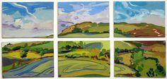 Lachlan Goudie | Eggardon Hill, Gouache On Board, 57x27cm | Detail