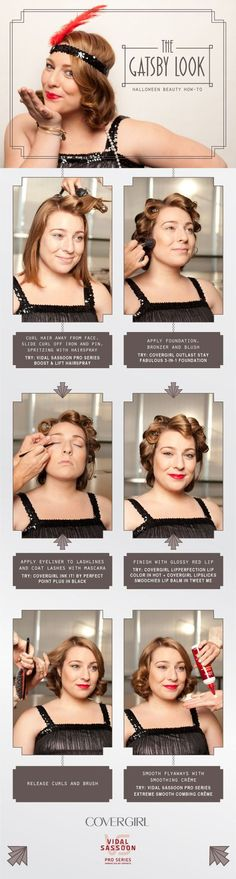 DIY Halloween Hair and Makeup Feat. Gatsby DIY Halloween Hair and Makeup Feat. Great Gatsby Hairstyles, Easy Hairstyles For Medium Hair, Vintage Hairstyles, Medium Hair Styles, Wedding Hairstyles, Quick Hairstyles, Gatsby Look, Gatsby Girl, Gatsby Style