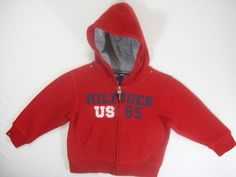 TOMMY HILFIGER BOYS SIZE 2T RED ZIP HOODIE SWEAT SHIRT LONG SLEEVE FALL…