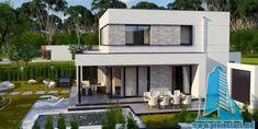 Proiect de casa cu doua etaje,acoperis plat si terasa de vara amenajata la sol -100960     Proiectari si Constructii Home Fashion, House Plans, New Homes, 1, Exterior, Mansions, Interior Design, House Styles, Houses