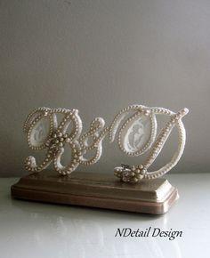 Wedding Cake Topper Triple Monogram Ivory Lace, Pearls & Vintage Rhinestone and Pearl Earrings for Weddings, Shower Gifts or Anniversaries