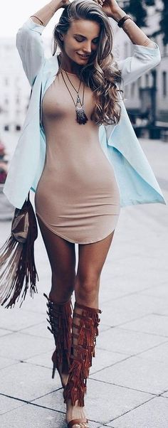 brown fringes + nude dress #outfits #fall #fashion