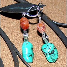 Earrings should be fun and make you smile. Others will respond to them, too; especially ones like these rugged turquoise nuggets with red agate pebbles, diamond silverplated spacers and leverback clasp. By Susen Foster of Oklahoma.