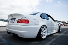 BMW E46 M3 AW stanced on white TE37 all about that Volk