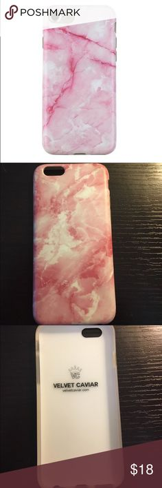 Velvet Caviar Pink Marble IPhone 6 Case Great condition!! Only used for a couple of weeks. No major marks or stains. Comes with 360 degree bumper protection with access to all parts as well as a raised lip to protect your phone screen. Made with TPU material and has a soft, durable and flexible finish. velvet caviar Accessories Phone Cases
