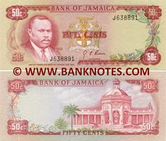 Jamaica 50 Cents (1970)  Front: Portrait of Marcus Garvey (1887-1940); Arms; Coffea coffee plant. Back: Rodney's Memorial*, Spanish Town Square in Spanish Town, Jamaica. Watermark: Pineapple. Printer: Thomas De La Rue  Company, Ltd.