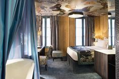 Hotel Le Bellechasse Paris. A 1840 edifice, in the heart of the Faubourg St. Germain district, redesigned by Christian Lacroix. Modern interiors and an old-world exterior pay homage to a classical era and its works of art. By Hotelied.