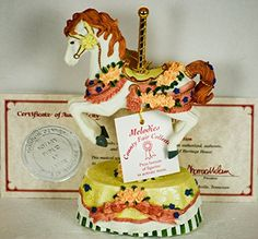 """Sculpture: 1978 - Heritage House Inc - """"""""Melodies"""""""" The County Fair Collection - Plays: I Just Called To Say I Love You - Musical Carousel Hobby Horse Sculpture - W/ Coa & Tags - Out Of Production - New - Very Rare - Limited Edition - Collectible"""