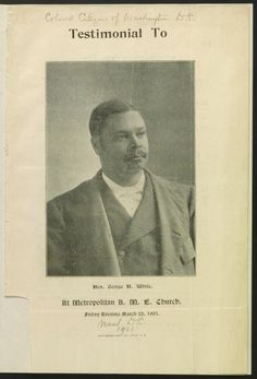 Testimonial to Hon. George H. White at Metropolitan A. George Henry, Daily Record, Library Of Congress, African American History, Civil Rights, Black History, Old Photos, Division, Washington