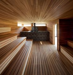 new sauna room in my house please Sauna Steam Room, Sauna Room, Basement Sauna, Steam Bath, Pool Spa, Spas, Design Sauna, Heavenly Resort, Scandinavian Saunas