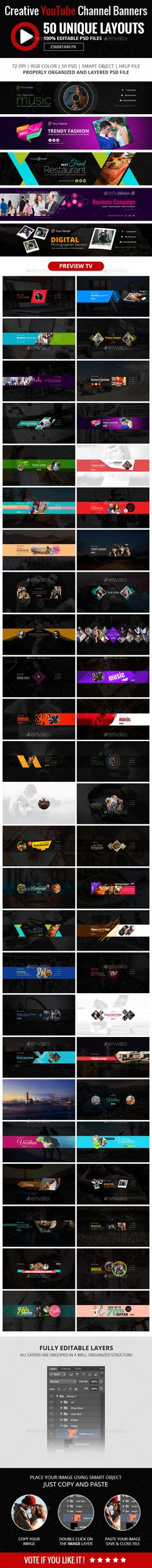 50 Multipurpose YouTube Channel Art - #YouTube #Social Media Download here: https://graphicriver.net/item/50-multipurpose-youtube-channel-art/19491497?ref=alena994