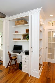 desk area, french door, shelves, wood floors