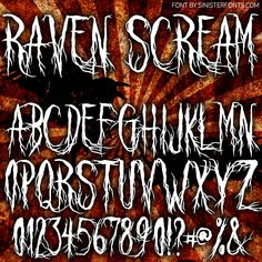 Sinister Fonts: Chad Savage's free, original horror, scary and Halloween fonts Coraline Cat, Witch Font, Number Tattoo Fonts, Halloween Fonts, Halloween Ideas, Tattoo Alphabet, Font Creator, Metal Font, Horror Font