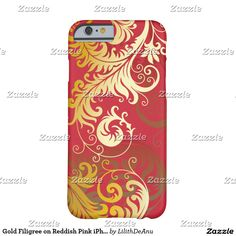 Gold Filigree on Reddish Pink iPhone Case #1
