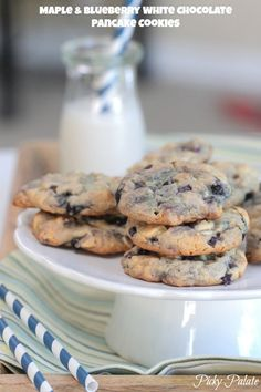Maple and Blueberry White Chocolate Chip Pancake Cookies @Jenny Flake, Picky Palate