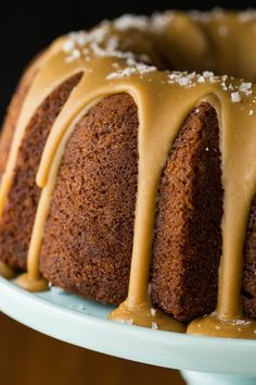 Banana Pound Cake with Salted Toffee Icing. Includes link on How to Ice a Bundt Cake & Note suggestion on practicing on the bundt pan to nail down the technique & consistency of the icing. Cake Recipes, Dessert Recipes, Tea Recipes, Sweet Recipes, Dessert Sauces, Banana Recipes, Frosting Recipes, Dessert Ideas, Dinner Recipes