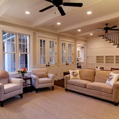 A True Family Room - traditional - family room - houston - Parker Stuckey Residential Living Room Floor Plans, Big Living Rooms, Cottage Living Rooms, Sw 7036, Traditional Family Rooms, Built In Bookcase, Bookcases, Family Room Design, Staircase Design
