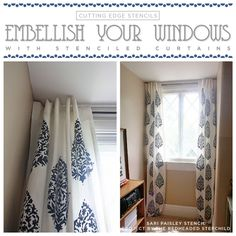 Learn How to Stencil Curtains Using the Sari Paisley Pattern Welcome back, my DIY makeover mavens! Today we want to chat about window treatments. Yup you see those frilly disasters handing around your windows? Well they're screaming for a pick-me-up!  Cutting Edge Stencils feels that window t