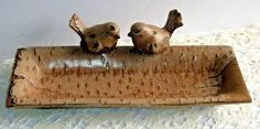 Brown Stoneware Birch Log Tray Platter w Two Love Birds or Tabletop Bird Feeder | eBay