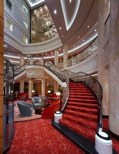 The Grand Lobby of Cunard Line's flagship Queen Mary 2, the grandest ocean liner at sea