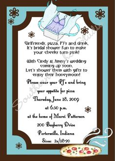 pajama party lingerie shower invite