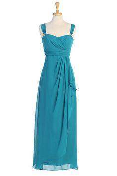 New Long Teal Blue Chiffon Bridesmaids Dress 2X Wedding Dresses Special Gown | eBay, $99, peacock teal blue bridesmaid dress