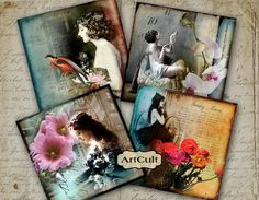 BACK IN TIME - 3.8x3.8 inch Images for Coasters Digital Collage Sheet Printable download Greeting cards Magnets Gift tags ArtCult graphics