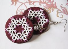 Round earrings  White tatted lace on dark burgundy by LandOfLaces, $20.00